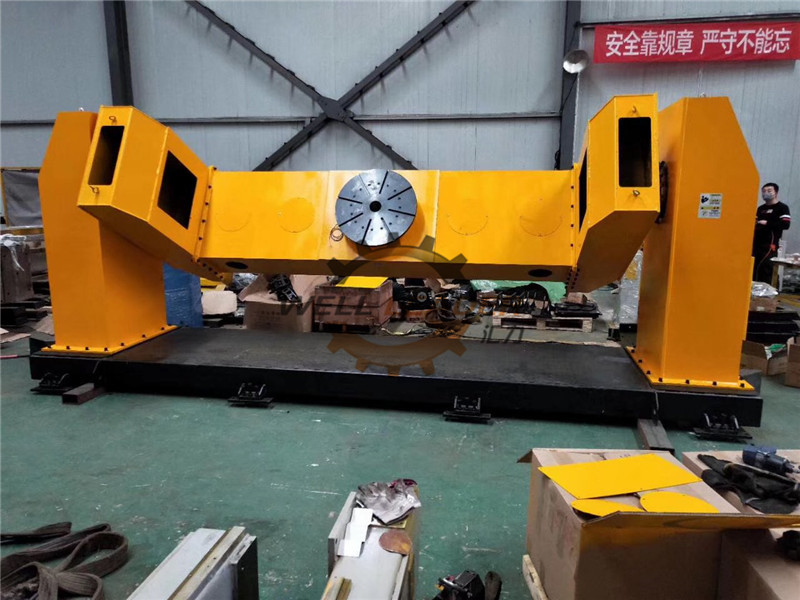 2 Axis 800mm Rotary Welding Positioner Double Column Head Tail Lifting Drop